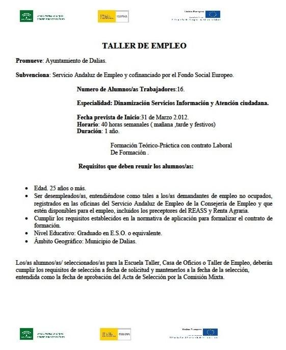 TALLER DE EMPLEO EN DALÍAS ORIENTADO AL DESARROLLO TURÍSTICO