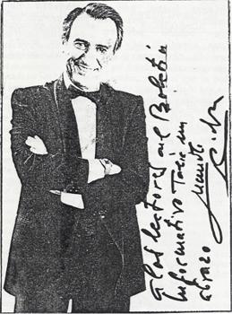 """El """"abrazo"""" de Manolo Escobar en su dedicatoria a los lectores del Boletín Informativo Talia nº 64"""