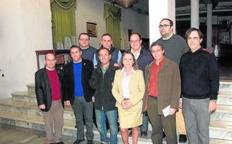 La concejala Pilar López con Rafael Leopoldo Aguilera, director del IEA; el diputado Francisco Lirola junto a los ponentes en las Jornadas.