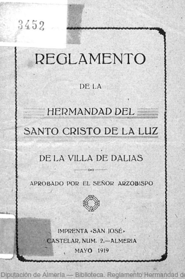 Portada de los Estatutos de Hermandad aprobados en el año 1919