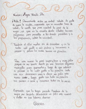 Una de las cartas recibidas desde Ecuador