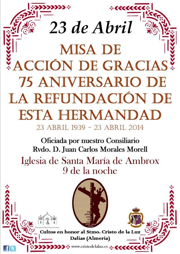 Cartel Misa reorganización Hermandad con fecha