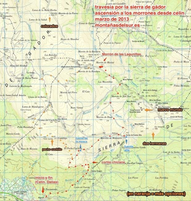 Mapa de la Sierra de Gádor en el t.m. de Dalías