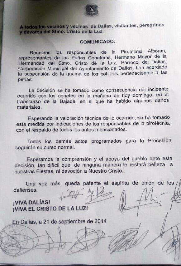 NO SE QUEMARÁN COHETES DURANTE LA PROCESION POR ACUERDO DE PIROTECNIA ALBORÁN Y RESPONSABLES DE PEÑAS, HERMANDAD Y CORPORACIÓN MUNICIPAL