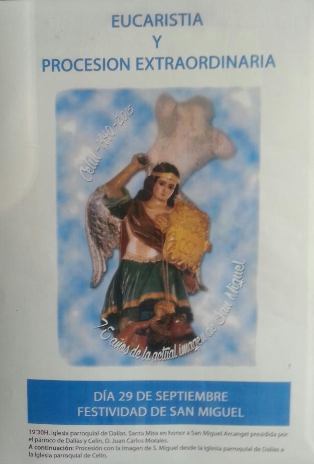Cartel que anuncia la presencia de San Miguel en Dalías y su procesión hasta Celín